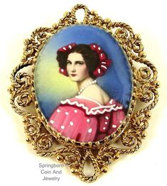 Victorian 14K GOLD Filigree Hand Painted Lady Portrait Brooch Pendant~12.9 G #Unsigned