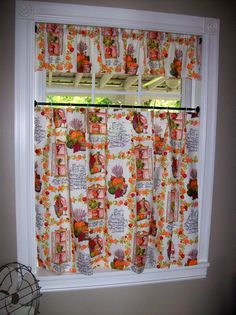 Vintage Kitchen Curtains Set Tiers Cafe Valance Pinch Pleated Pumpkins Autumn Fall Decor Thanksgiving Retro Mid Century Cottage Harvest via Etsy