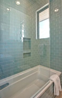Glass subway tiles | Cat Mountain, Greenbelt Homes, Austin TX contemporary bathroom