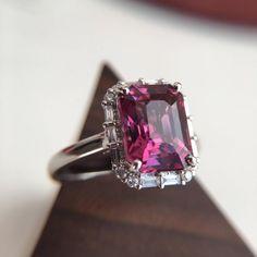 3 Carat Rhodolite Garnet Engagement Ring Baguette Diamond Ring | Etsy Pink Stone Rings, White Gold Rings, Pink Wedding Rings, Dream Wedding, Colored Engagement Rings, Baguette Diamond Rings, Cute Rings, Pink Ring, Garnet Rings