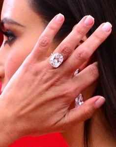 Kim Kardashian flaunted her megawatt diamond engagement ring on the red carpet!