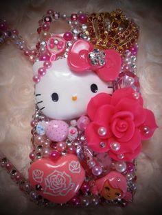 Super Chic Kawaii Cellphone Case Iphone 4G Crysals Bling | blingacious-designs - Accessories on ArtFire