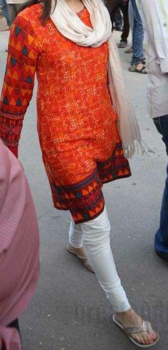 Orange & White Salwar