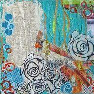 "Definition of a Bird"" by Jennifer Drummond Ferris; Mixed Media ~ 12"" x 12""; SOLD © 2012 Jennifer Drummond Ferris"
