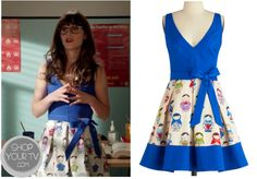 Jess Day (Zooey Deschanel) wears this blue dress with a skirted bottom with Russian dolls printed on it, in this week's episode of New Girl. It is the Eva FrancoDoll in All Dress. You can buy it from Modcloth HERE … Continue reading →