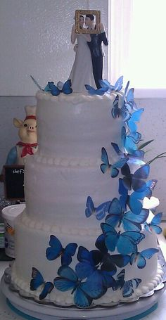 Edible Blue Butterfly Wedding Cake I made...