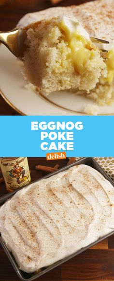 Even Eggnog haters will love this boozy poke cake. Poke Cake Recipes, Poke Cakes, Cupcake Cakes, Cupcakes, Layer Cakes, Holiday Baking, Christmas Baking, Christmas Sweets, Christmas Cakes