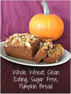 Clean Eating Pumpkin Bread. This recipe makes delicious and moist whole wheat, sugar free, vegan pumpkin bread! -SquashBlossomBabies