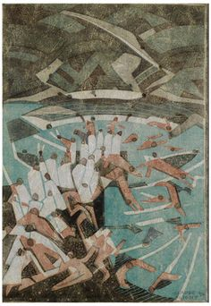 Claude Flight (British, Boys Bathing (Coppel CF 58 - not illustrated) The rare linocut printed in colours, on tissue thin Japan nacree, stuck to a charcoal grey support sheet,. Harlem Renaissance, Linoleum Block Printing, Scratchboard, Art Deco, Wood Engraving, Linocut Prints, Gravure, Art Auction, Illustrations Posters