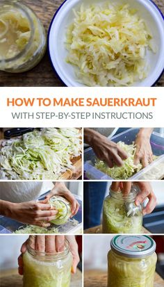 How to make sauerkraut at home - quick and easy fermented cabbage recipe with step by step instructions photos Recipes step by step Quick Sauerkraut Recipe (With Step-By-Step Photos) - Irena Macri Easy Sauerkraut Recipe, Fermented Sauerkraut, Homemade Sauerkraut, Fermented Cabbage, Pickled Cabbage, Canning Cabbage, Fermented Vegetables Recipe, Pickled Apples, Sour Cabbage