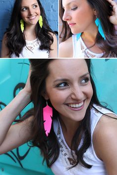 Our duct tape feather earrings are on sale now! They come in four bright colors for summer.