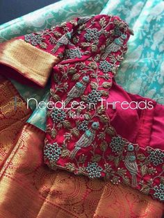 Blue and Pink combination with Parrot Maggam work Best Blouse Designs, Wedding Saree Blouse Designs, Pattu Saree Blouse Designs, Half Saree Designs, Blouse Neck Designs, Choli Designs, Wedding Blouses, Lehenga Blouse, Saree Dress