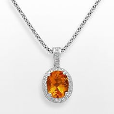 "Sterling Silver Citrine and Diamond Accent Oval Frame Pendant, Women's, Size: 18"", Orange"