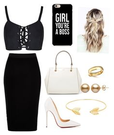 """""""Untitled #15"""" by maribeltheflower on Polyvore featuring River Island, Christian Louboutin, DKNY, Caso and Lord & Taylor"""