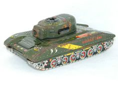 Vintage Tin Toy Friction Tank Harusame Tanks Made In Japan Missile Army Tank