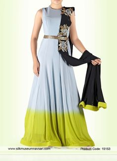 Gratifying Neon Green And Light Gray Satin Party Anarkali Suit