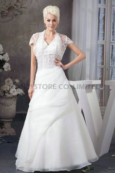 Aliexpress.com : Buy A line Ankle Length V Neck Organza with Appliques Wedding Dresses from Reliable wedding dress 27 dresses suppliers on HONEYSTORE CO., LIMITED $398.98