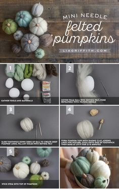 How to Make Felted Mini Pumpkins for Fall - Lia Griffith How to Make Fe., How to Make Felted Mini Pumpkins for Fall - Lia Griffith How to Make Felted Mini Pumpkins for Fall - Lia Griffith. Needle Felting Kits, Needle Felting Tutorials, Needle Felted Animals, Wet Felting, Felt Animals, Easy Felt Crafts, Felt Diy, Fall Crafts, Diy Crafts