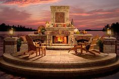 outside fireplace and pool   Accent Homes Pools & Spas Corporate Headquarters