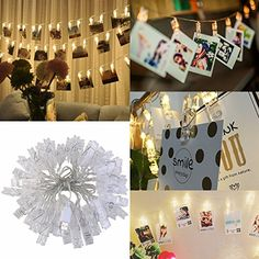 LEDMOMO 40 LED Photo Clip String Lights Christmas String ...