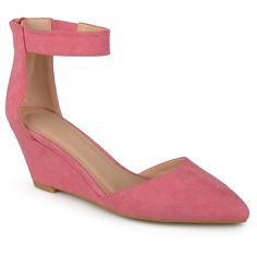 Women's Journee Collection Kova Faux Suede Ankle Strap Pointed Toe Wedges - Pink 8.5