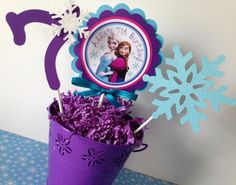Frozen Birthday Party Cake Topper in Aqua by sweetheartpartyshop