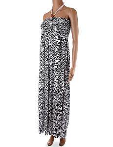 5f19ee072630 Dlhé biele šaty bez ramienok Mini Leo Dlhé ľahké letné biele šaty s čiernym  vzorom leopardej