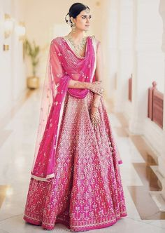 Traditional Pink Bridal wear- Lehenga Chunni made with embroideries and silk  #kritisanon #bridalwear #indianwear #indianwomenswear #indianoutfits #traditionalclothesofindia Lehenga Chunni, Bridal Lehenga Choli, Indian Wedding Outfits, Indian Outfits, Indian Clothes, Indian Bridal Couture, Bride Tank Tops, Allure Bridal, Bollywood Fashion