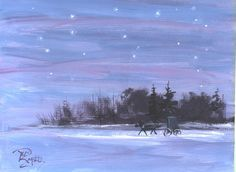 Starlight Ride Amish Buggy  landscape painting by jimsmeltzgallery, $50.00