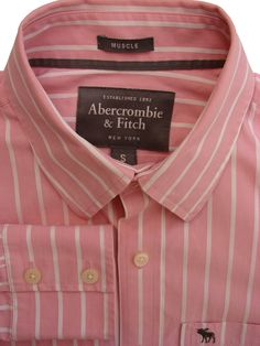 8fd92a4352 ABERCROMBIE & FITCH Shirt Mens 15.5 S Pink & White Stripes MUSCLE