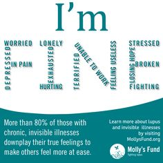 Do you downplay your symptoms to make others feel more comfortable, so you don't have to explain your illness, because they won't understand, because you will feel judged or for some other reason? Please share your thoughts. www.MollysFund.org #lupus #invisible Illness