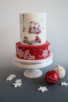Merry Christmas - cake by tomima Christmas Cake Designs, Christmas Sweets, Christmas Baking, Christmas Cookies, Merry Christmas, Pretty Cakes, Cute Cakes, Beautiful Cakes, Amazing Cakes