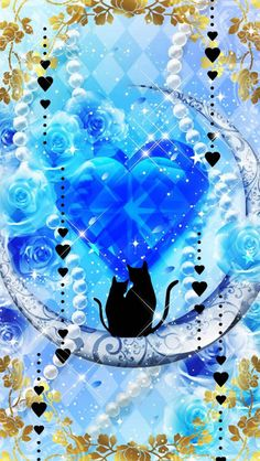 Moon with Cats Wallpaper.By Artist Unknown. Graffiti Wallpaper Iphone, Emo Wallpaper, Gothic Wallpaper, Glitter Wallpaper, Cellphone Wallpaper, Galaxy Wallpaper, Pattern Wallpaper, Wallpaper Backgrounds, Iphone Wallpaper