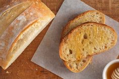 No-Knead Crusty White Bread Recipe.  2 packets yeast, 6.5 cups flour, 2 minutes in microwave for water