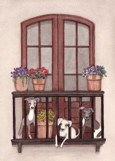 Italian greyhounds take a little sun on the balcony / Lynch signed folk art print
