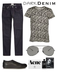 """Menswear Essential: Dark Denim: 25/08/16 (WGC)"" by pinky-chocolatte ❤ liked on Polyvore featuring Acne Studios, Giorgio Armani, men's fashion and menswear"