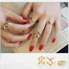 Alloy rings for casual Monday, set of 3 rings at $1.99