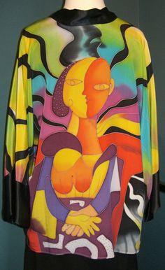 Hand Painted Elegant Jacket 100% Spun Silk Dilemma Dhun Shrof Picasso Inspired #Dilemma #BasicJacket