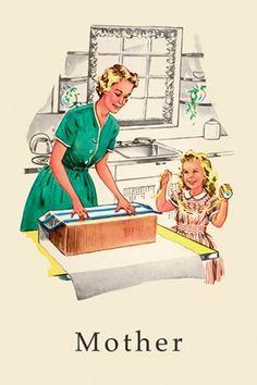 Mother ~ Vintage 'Dick and Jane' book illustration. Vintage Children's Books, Vintage Cards, Vintage Images, Vintage Housewife, Retro Humor, Illustrations, Book Illustration, Mother And Child, Vintage Prints