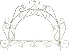 ANTIQUE-WHITE-WROUGHT-IRON-SCROLL-ARCH-FIREPLACE-SCREEN-For-use-with-Art-Panels