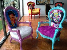 funky furniture - Picture of Gallery Cafe Painted Chairs, Hand Painted Furniture, Funky Furniture, Refurbished Furniture, Paint Furniture, Upcycled Furniture, Furniture Projects, Furniture Makeover, Furniture Decor