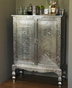 boudoir ~ paint an armoire to replicate mercury glass...oh my gosh...love it!