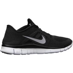 Nike Free Run+ 3 Women's Running Shoes - Black, 9 ($80) ❤ liked on Polyvore featuring shoes, athletic shoes, sneakers, nike, sport, training shoes, low profile shoes, black running shoes, black shoes and athletic training shoes