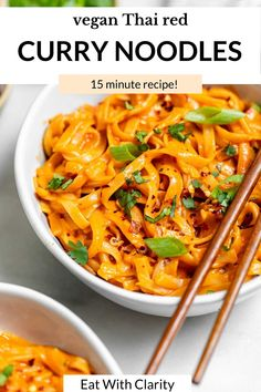 Looking for a quick, easy but delicious weeknight dinner? These Thai red curry noodles are for you! This vegan noodle recipe is easy to make, chock full of flavor and literally ready in 15 minutes. Perfect as is or with your favorite protein and vegetables added in! They're gluten free, healthy and so easy to make. #noodles #currynoodles #vegancurry Pasta Al Curry, Curry Noodles, Thai Pasta, Vegetarian Recipes, Cooking Recipes, Healthy Recipes, Sauce Recipes, Veggie Recipes, Seafood Recipes