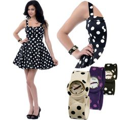 Slap on watch with dot pattern. Can suit all your favourite dresses.