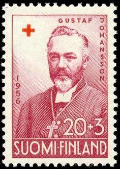 Postage stamp depicting the Finnish archbishop Gustaf Johansson