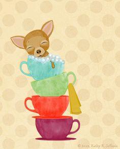 Bathroom Art - Teacup Chihuahua Taking a Bubble Bath, Whimsical Print For The Bathroom.