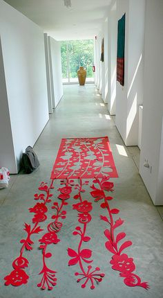 floral felt rug