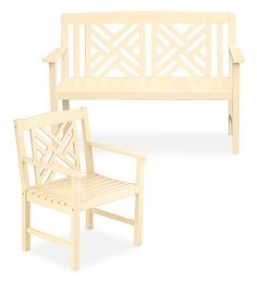Ivory Eucalyptus Fretwork Outdoor Bench | Benches