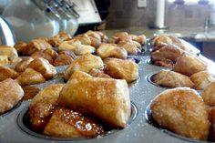 """Ingredients: 1 can Pillsbury biscuits, cinnamon and sugar, brown sugar, butter.Instructions: Cut biscuits into 1 inch """"bites"""" or smaller. Put in Ziploc bag with cinnamon and sugar. Shake to coat."""